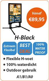 Stoepbord met H-voet in zwart